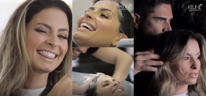 Keune preparou uma ação especial: Tiago Aprígio, Embaixador Master da marca, foi o responsável pela transformação nos cabelos da influenciadora Raka Minelli