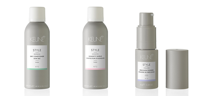 Dry Conditioner, Humidity Shield e o  Precision Powder, lançamentos da Keune